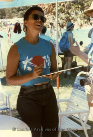 West Coast Women's Music and Comedy Festival Produced by Robin Tyler in Yosemite, California, Labor Day Weekend 1991. Lesbian Performer, Diedre McCalla Signs Record Albums For Her Fans.