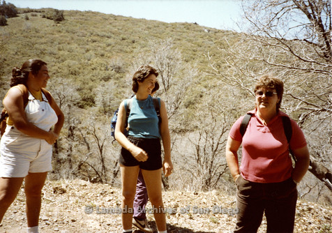 P008.009m.r.t Oakzanita Peak - Cuyamaca 1983: Kathleen Gilbraith and other hikers on the trail