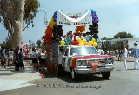 P234.030m.r.t SD Pride Parade 1994: Parade float for The Center