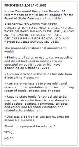 Gas Tax Petition Language