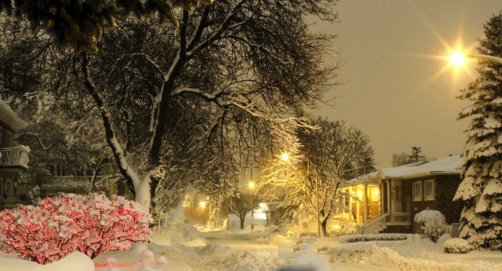 Winter Storm And Light Before Christmas In Montreal Quebe