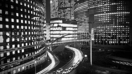 La Défense by night (BW)