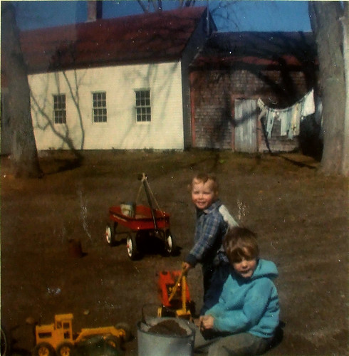 with Mark in Maine yard, 1971