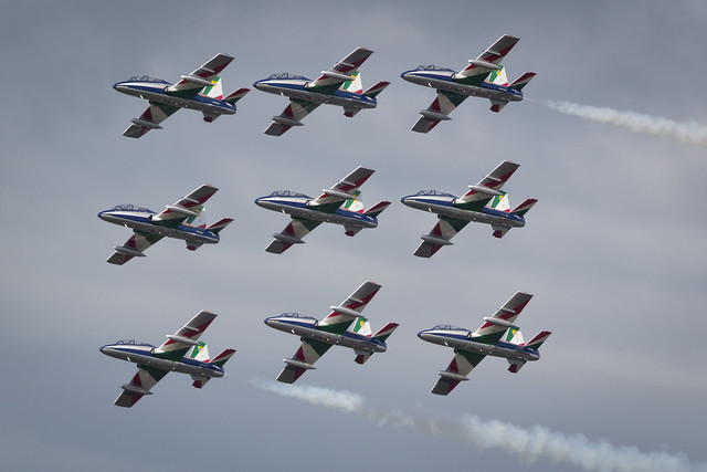 RIAT 2016-136Fairford, Gloucestershire, UK - July 10th, 2016: The Italian Air Force Frecce Tricolori Display Team perform at Fairford International Air Tattoo 2016