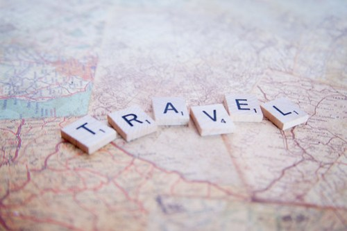 Travel - Map - Scrabble Letters