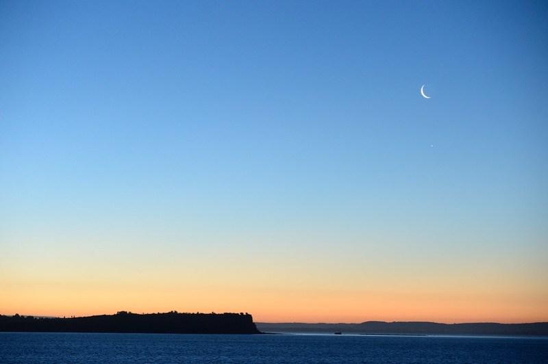 Moon in sunset