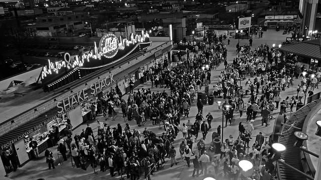 Many People In Line At The Citi Field Shake Shack - Black & White Version; Flushing, New York