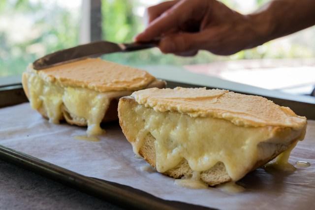 a layer of smooth homemade hummus