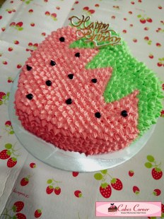 Strawberry 2D Birthday Cake
