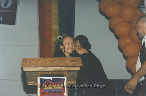1995 - San Diego LGBT Pride Rally: 'Out And Free' Pride Awards: Brenda Schumacher (left) LGBT Pride Entertainment Director.