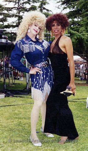 San Diego LGBT Pride Festival: Two Female Impersonators Posing For a Photograph.