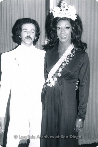 1971 - First Emperor (left) and First Empress Tawny Tann (right) of the Imperial Court de San Diego.