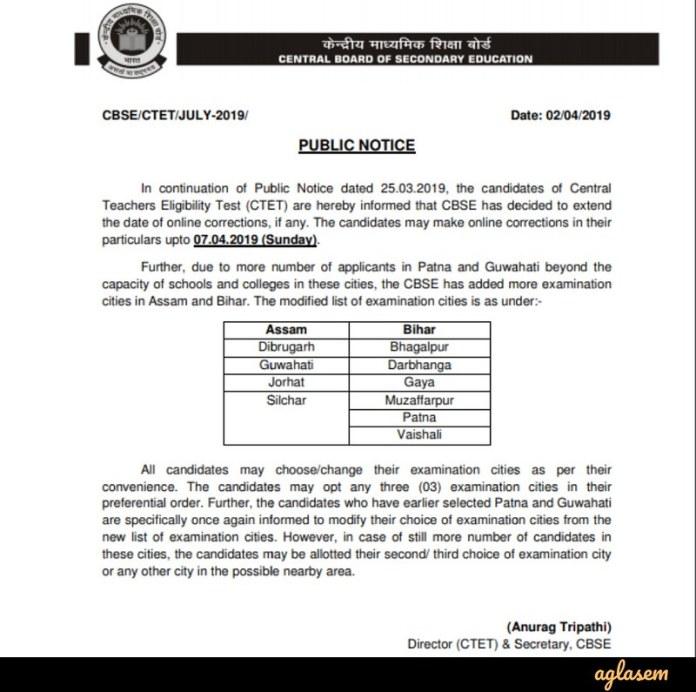 Notice Regarding the Application Form Correction