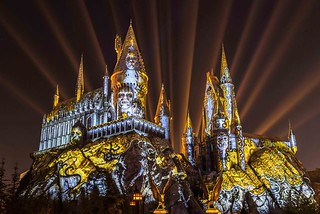 The Dark Arts at Hogwarts Castle Light Projection Show at Universal Studios Hollywood