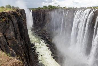 Het gedeelte op de foto waar geen (nooit) water valt heet Livingstone Island, vanaf daar zag David de watervallen voor het eerst.