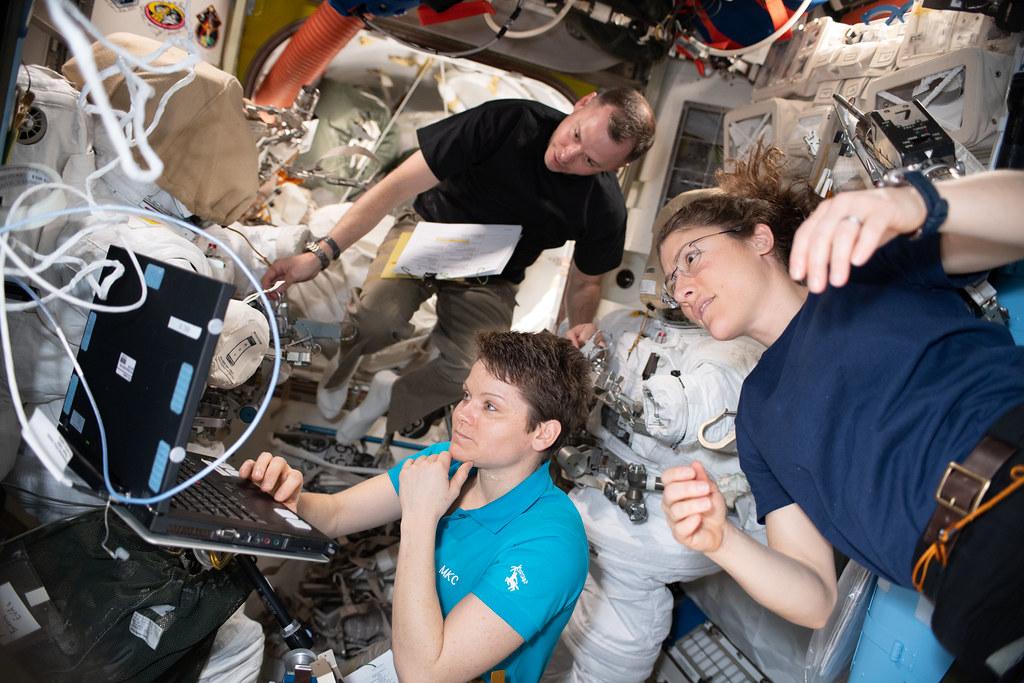 NASA astronauts Nick Hague, Anne McClain and Christina Koch
