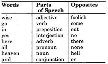 RBSE Class 7 English Vocabulary Opposites 1