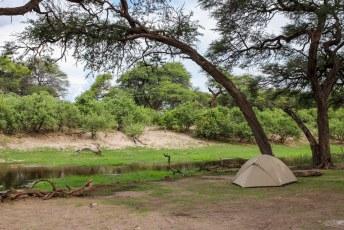 We kampeerden die avond tussen twee parken in naast dit riviertje met hippos.....
