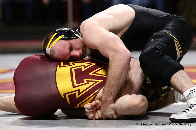 165 #2 Alex Marinelli (Iowa) fall Carson Brolsma (Minnesota) 5:55. 190113AMK0032