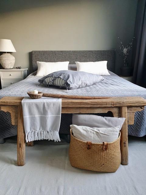 Rieten mand bankje landelijke slaapkamer