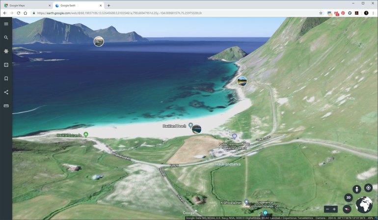 De echte 3D optie in Google Earth geeft een redelijk accuraat beeld van wat je kunt verwachten. Dit kan tot op zekere hoogte ook in Google Maps.