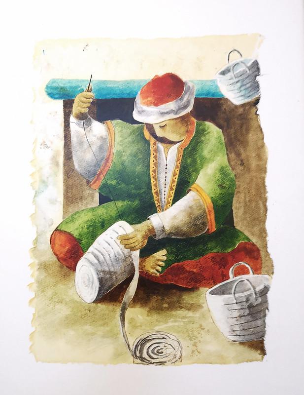 Tozeur pintura cestero artesanos oficios Museo Dar Cherait Etnografico Tunez