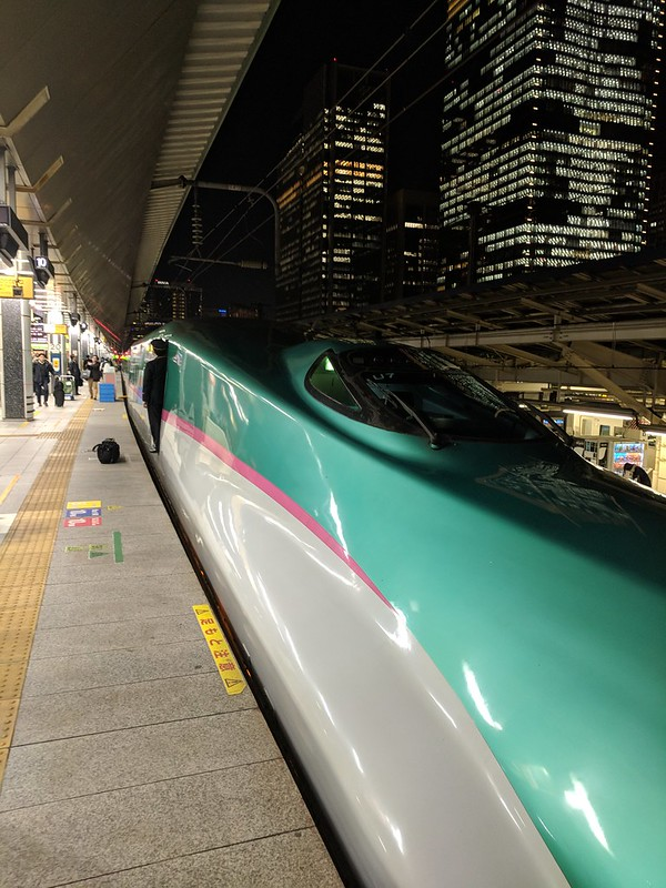Japan high-speed train out of Tokyo