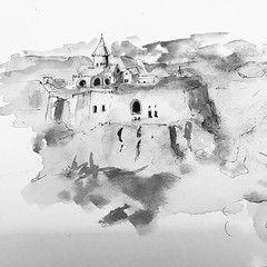 Monastery in Armenia . #ink #art #inkpainting #inkdrawing #art #meditation #tinta #meditacion #painting #drawing #zen #artist #artwork #arte #artjournal #artista #lineart #sketch #sketchbook #sketches #sketching #sketchoftheday #inktobermexico #inkillustr