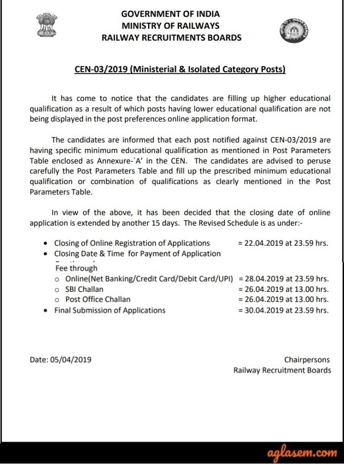 RRB Ministerial Application Form Dates Extended 2019
