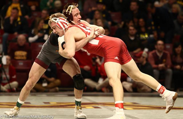Champ. Round 1 - Steve Bleise (Minnesota) 18-4 won by decision over Jake Danishek (Indiana) 18-12 (Dec 8-5) - 1903amk0142