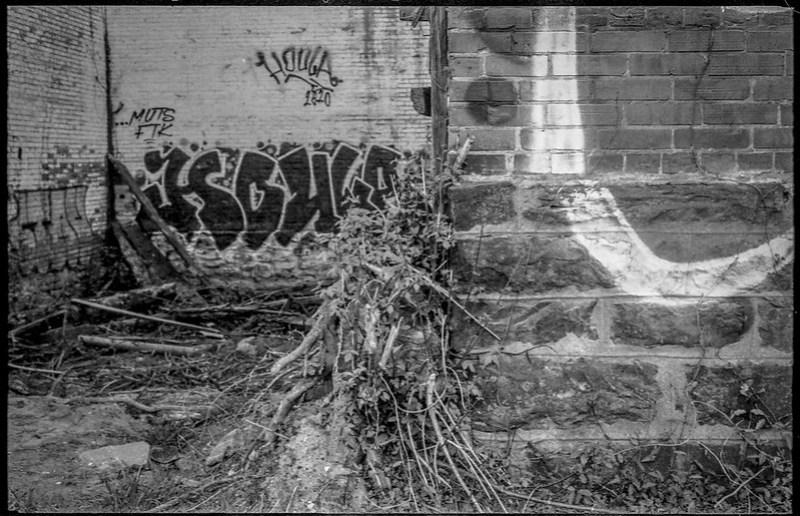 gutted warehouse, abandoned, graffiti, River District, Asheville, NC, Kodak Retina IIIc, kodak tri-x 400, 4.7.19