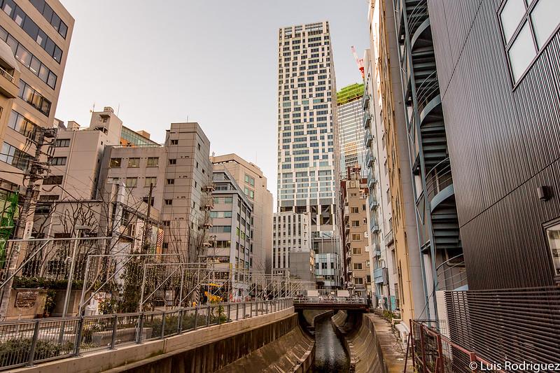 Torre del Shibuya Stream (y paseo peatonal) vista desde uno de los puentes que cruzan el río