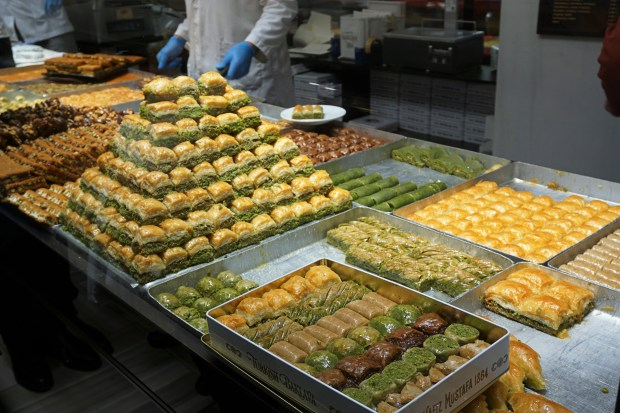 Various types of baklava at Hafiz Mustafa 1864