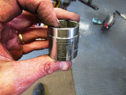 Cut Down 27 mm Socket For Swing Arm Lock Nut