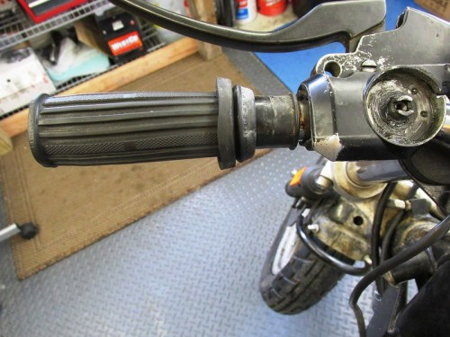 Left Handlebar Grip Mounted to Plastic Tube