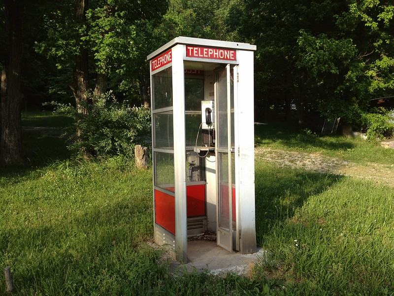 Phone booth on a back road