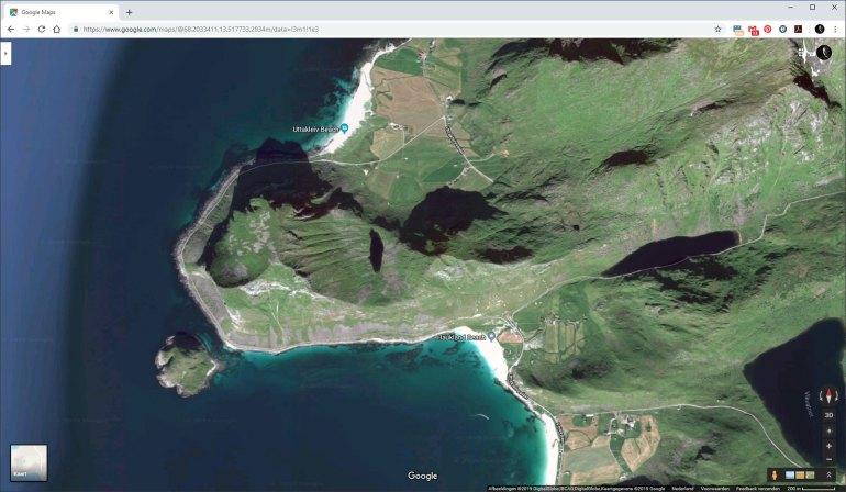 Google Maps in satelliet modes, laat een mooi 3D effect van de locatie zien. Desgewenst kun je schakelen tussen een echte kaart met de wegen er duidelijk op.