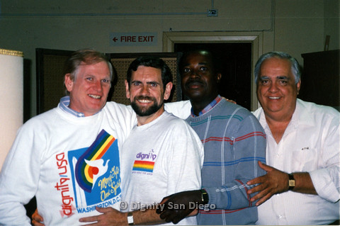 P103.135m.r.t Dignity San Diego:  Close up of four men posing for camera, Stan Lewis at center right