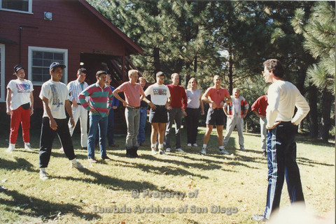 P001.237m.r.t Retreat 1991: men in organized activity outdoors
