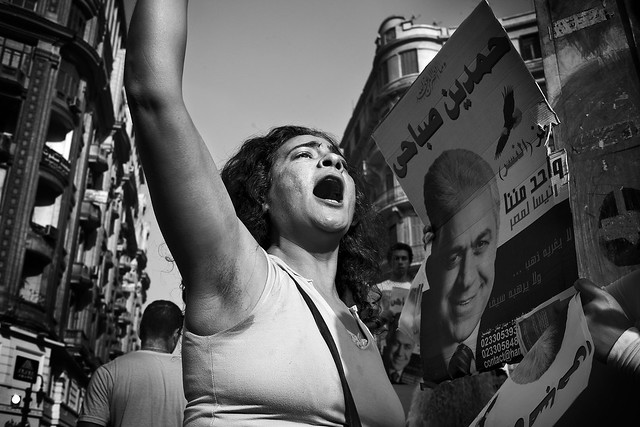 Egyptian protester shout slogans supporting Hamddem Shabahi at a demonstration in Talat Harb Square, Cairo, Egypt.
