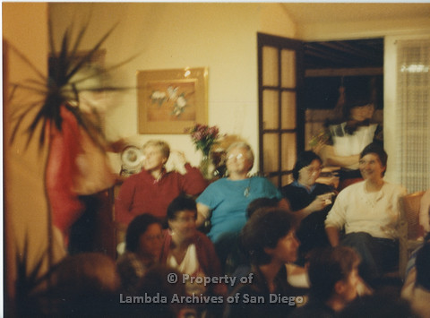 Alix Dobkin Concert, 1985 in the home of Carol Cianfarani: Lesbian Feminist Audience before the performance of Jewish, Lesbian, Feminist and Activist Alix Dobkin. Seated in the back row: Sally Hopkins (left) and Lesbian Feminist Artist, lla Suzanne (rig