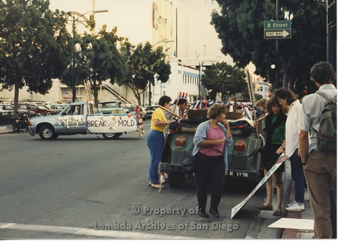 P024.126m.r.t Myth California Protest, San Diego, June 1986: A truck with a sign (Break the Miss Calif Mold)
