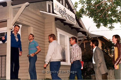 P103.201m.r.t San Diego Dignity Center:  Earl, Bruce Neveu, and four unidentified men walking to Center