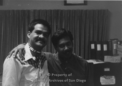 "P098.004m.r.t Nations of the 4 Directions: Tom Lidot (right) and Ricky ""Cricket"" Kimball (left) at Indian Human Resource Center"