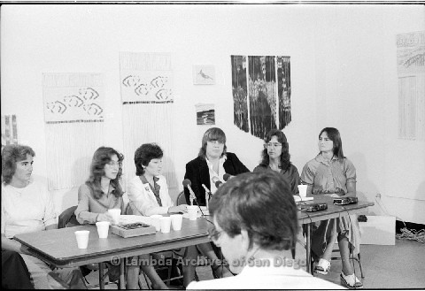P123.009m.r.t Dixon Press Conference 1982:  (Left to Right) Chris Russell, Kathy Gilberd (MLTF, NLG), Diane Cooper (NOW/SD), Susan McGreivy (ACLU), Kim McAlister (CWSS), Eileen Bingle at the press conference.