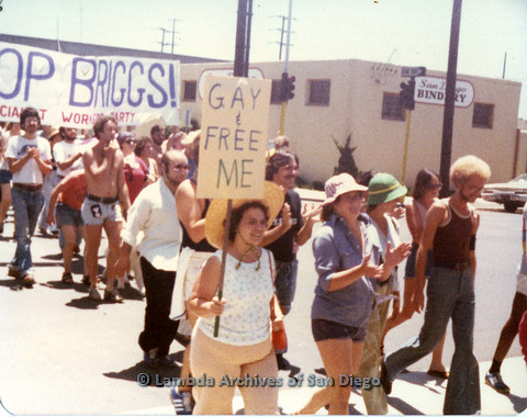 "P109.028m.r.t San Diego Pride Parade 1978: In the midst of parade with prominent ""Gay & Free me"" and STOP BRIGGS!"" signs."