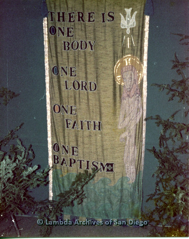 "P110.043m.r.t Metropolitan Community Church: Tapestry saying, ""There Is One Body One Lord One Faith One Baptism"""