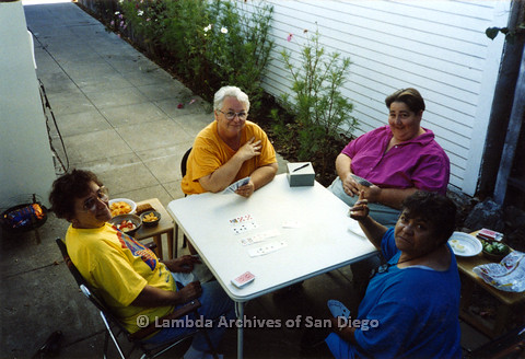 """P024.314m.r.t Hawthorn St: Ila Suzanne (second from left) and Edna Myers (second from right) playing Bridge with """"The Girls""""."""