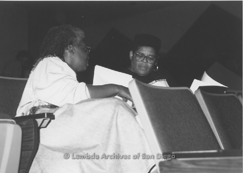 """P125.005m.r.t Wendy Sky (left) speaking with Phyllis Jackson (right) at LAGADU's """"The Gathering"""""""