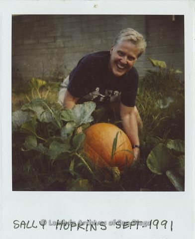 P024.360m.r.t Sally Hopkins posing with a pumpkin